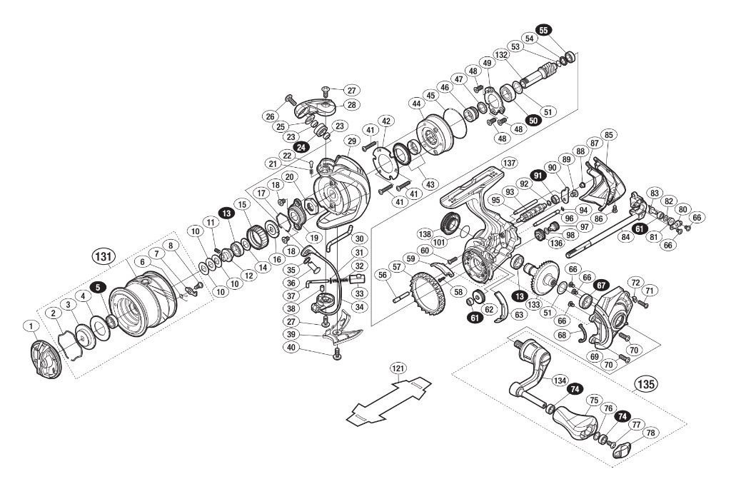Shimano Vanquish exploded view